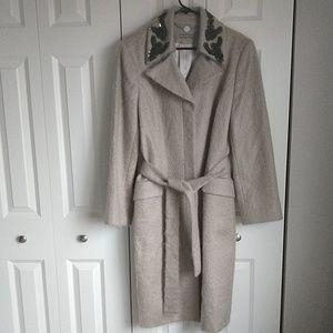 Anne Klein long Mohair winter coat tan/lt gry XL